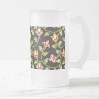 Art Deco Flowers, Leaves and Beads on Black Beer Mug