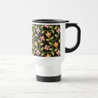 Art Deco Flowers, Leaves and Beads on Black Coffee Mug