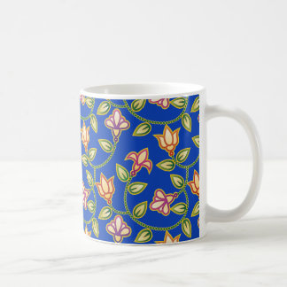 Art Deco Flowers, Leaves and Beads on Deep Blue Coffee Mug