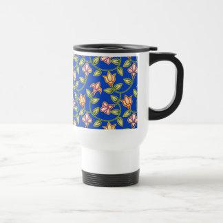 Art Deco Flowers, Leaves and Beads on Deep Blue Coffee Mugs