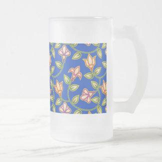 Art Deco Flowers, Leaves and Beads on Deep Blue Beer Mug
