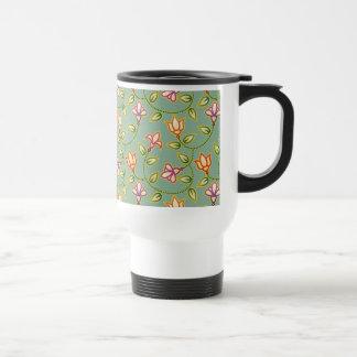 Art Deco Flowers, Leaves and Beads on Sage Green Coffee Mug