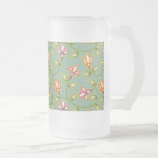 Art Deco Flowers, Leaves and Beads on Sage Green Beer Mug