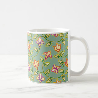 Art Deco Flowers, Leaves and Beads on Sage Green Coffee Mugs