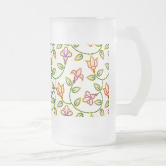 Art Deco Flowers, Leaves and Beads on White Beer Mugs