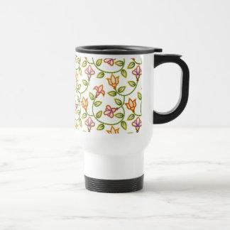 Art Deco Flowers, Leaves and Beads on White Mug