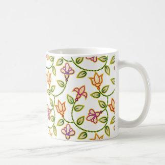 Art Deco Flowers, Leaves and Beads on White Coffee Mug