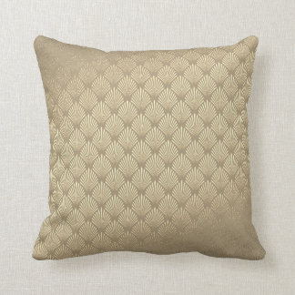 Art Deco Foxier Ivory Beige Gold Cobalt Seashells Cushion