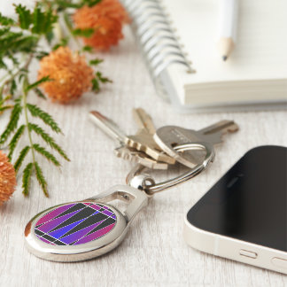 Art Deco 'Fractured' by Kenneth Yoncich Silver-Colored Oval Key Ring