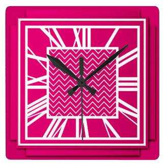Art Deco, fuchsia pink Square Wall Clock