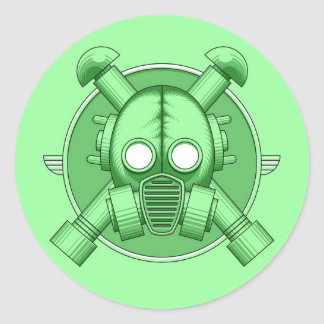 Art Deco Gasmask Green Classic Round Sticker
