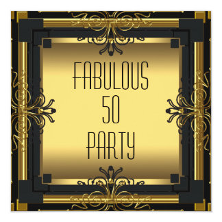 ART DECO Gatsby Fabulous 50 50th Birthday Party 13 Cm X 13 Cm Square Invitation Card