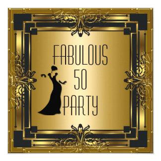 ART DECO Gatsby Fabulous 50 50th Birthday Retro 13 Cm X 13 Cm Square Invitation Card