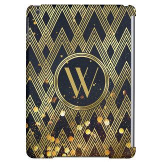 Art Deco Gatsby Glamour Geometric Pattern Monogram iPad Air Cover