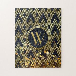 Art Deco Gatsby Glamour Geometric Pattern Monogram Jigsaw Puzzle