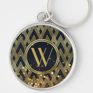 Art Deco Gatsby Glamour Geometric Pattern Monogram Key Ring