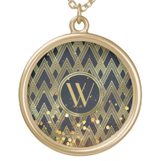 Art Deco Gatsby Glitter Geometric Pattern Monogram Gold Plated Necklace