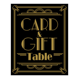 Art Deco Gatsby style Gift and card Table wedding Poster