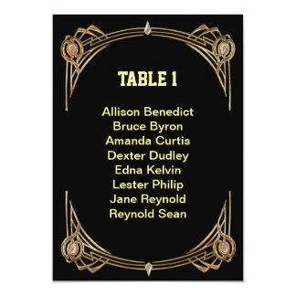Art Deco Gatsby Style Seating List Card
