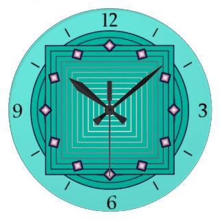 Art Deco Geometric, Aqua and Turquoise Blue Large Clock