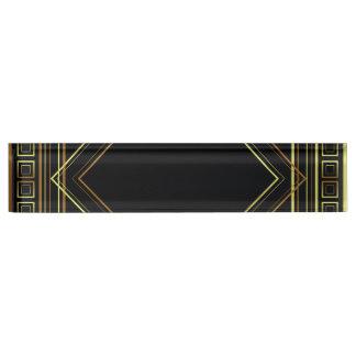 Art Deco Geometric black gold cream Nameplate