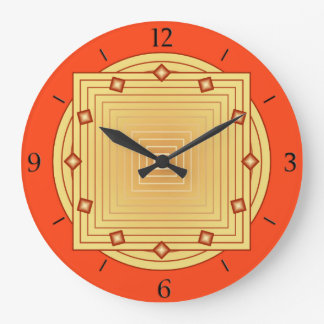 Art Deco Geometric, Mandarin Orange and Yellow Large Clock