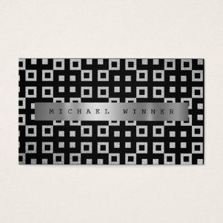 Art Deco Geometric Ornament Vip Silver Gray Foil Business Card