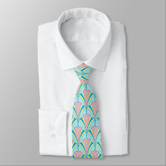 Art Deco Geometric Pastel Fan Design Tie