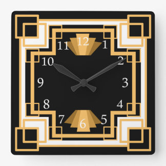 Art Deco Geometric Pattern Custom Square Wall Clock