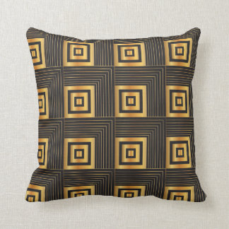 Art Deco Geometric Squares black & gold Cushion