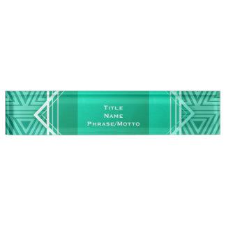 Art Deco Geometric turquoise & white Name Plate
