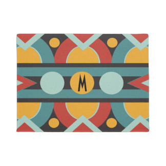 Art deco geometric with initial monogram doormat
