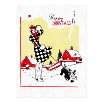 Art Deco Girl and Scotty Dog Postcard