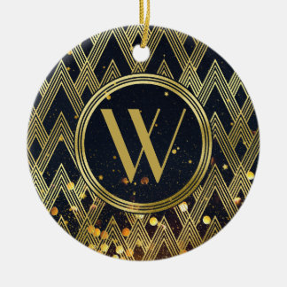 Art Deco Glamorous Geometric Pattern Monogram Ceramic Ornament
