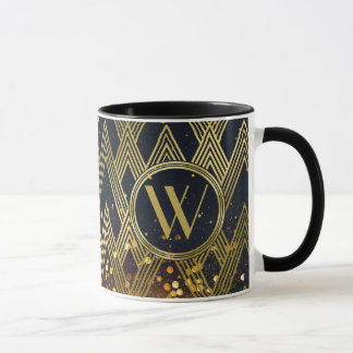Art Deco Glamorous Geometric Pattern Monogram Mug