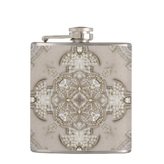 Art Deco Glamorous Great Gatsby Rhinestone Lace Hip Flask