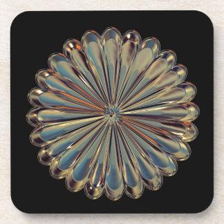 Art deco glass gem flower medallion coaster