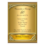 Art  Deco Gold 50th Birthday Invitation