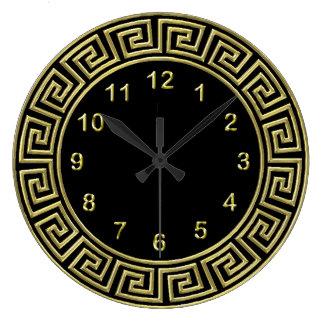 Art Deco Gold Black Greek Key Border Gold Markers Clocks