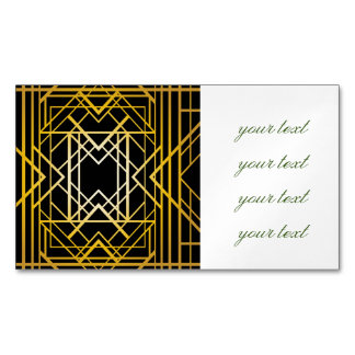 art deco,gold,black,vintage,retro,elegant,chic,tre magnetic business cards