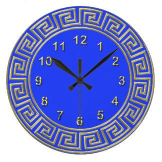Art Deco Gold Blue Greek Key Border DIY Background Wall Clock