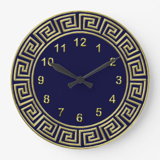 Art Deco Gold Blue Greek Key Border Gold Markers Wall Clocks