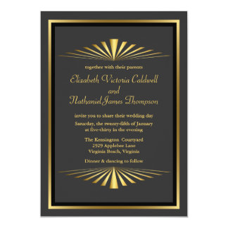 Art Deco Gold Fanfare Wedding Invitation | black