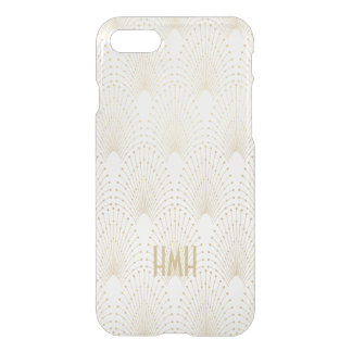 Art Deco Gold Fans Peacock Pattern Monogram iPhone 8/7 Case