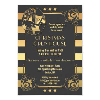 Art Deco Gold Gatsby Christmas Holidays Invitation