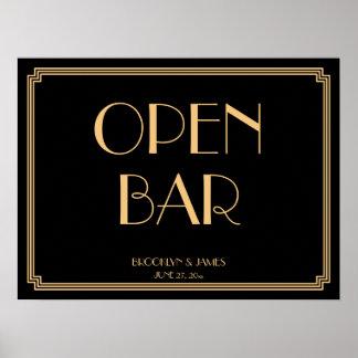 Art Deco Gold Gatsby Wedding Open Bar Sign 24x18