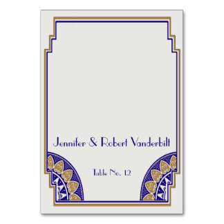 Art Deco Gold Navy Posh Place Card