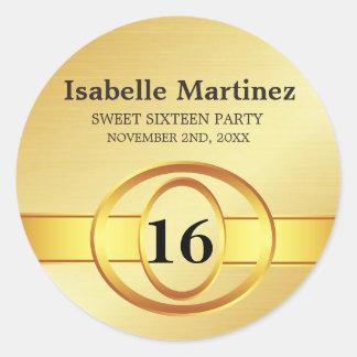 Art Deco Gold Personalized Sweet 16 Sticker