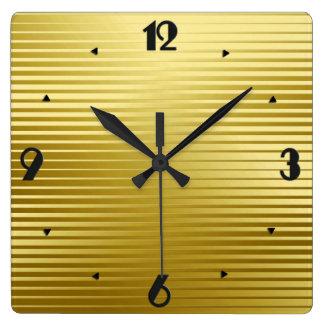 Art Deco Gold Satin Stripes Square Wall Clock