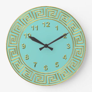 Art Deco Gold Turquoise Greek Key Border Gold Mkrs Large Clock